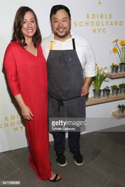 Kate Brashares and David Chang attend Edible Schoolyard NYC 2018 Spring Benefit at 180 Maiden Lane on April 16 2018 in New York City
