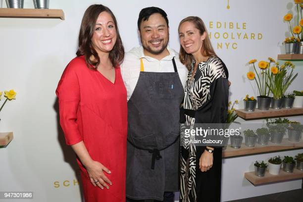 Kate Brashares David Chang and Christine Muhlke attend Edible Schoolyard NYC 2018 Spring Benefit at 180 Maiden Lane on April 16 2018 in New York City