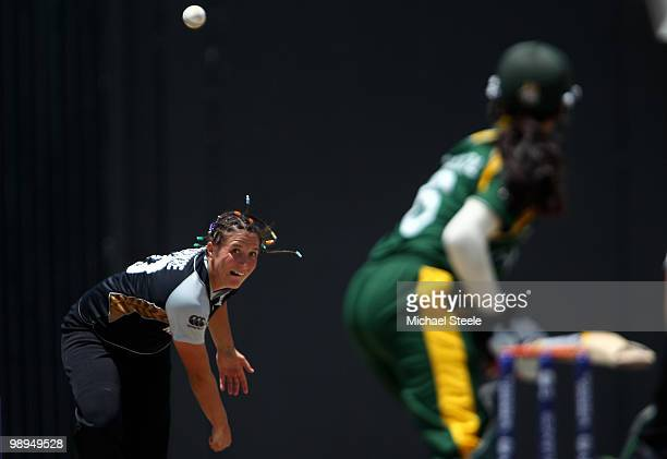 Kate Broadmore of New Zealand bowling during the ICC T20 Women's World Cup Group B match between New Zealand and Pakistan at Warner Park on May 10...
