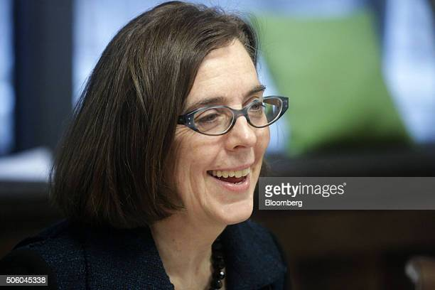 Kate Brown governor of Oregon smiles during an interview in Portland Oregon US on Wednesday Jan 20 2016 Brown a Democrat joined the state House of...