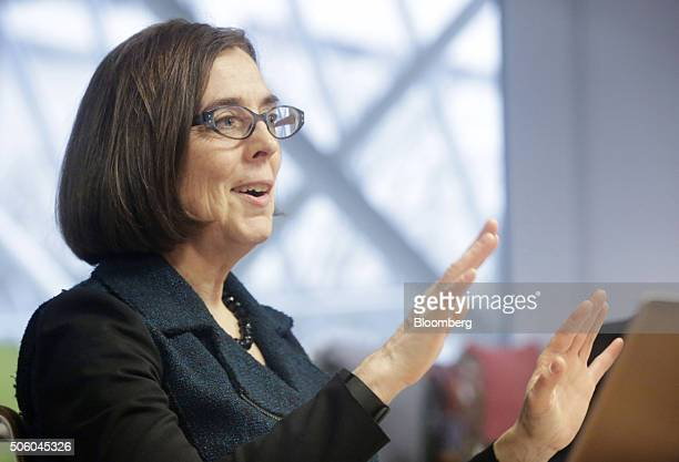 Kate Brown governor of Oregon speaks during an interview in Portland Oregon US on Wednesday Jan 20 2016 Brown a Democrat joined the state House of...