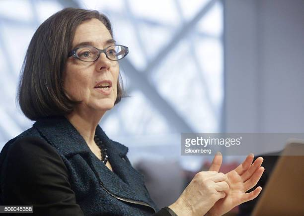 Kate Brown, governor of Oregon, speaks during an interview in Portland, Oregon, U.S. On Wednesday, Jan. 20, 2016. Brown, a Democrat, joined the state...