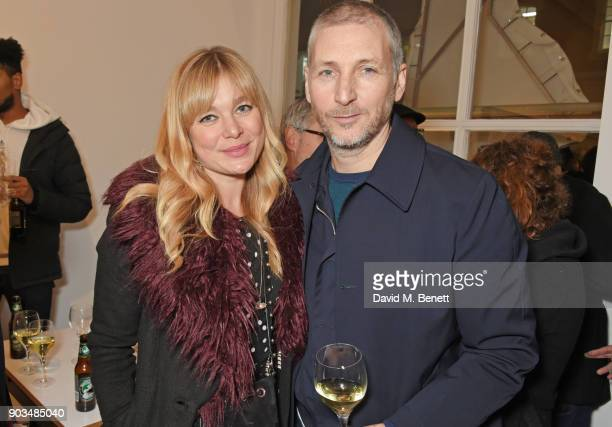 Kate Bryan and Charming Baker attend the private view of JR Giants Body of Work at Lazinc on January 10 2018 in London England