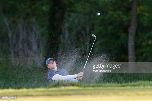 Kate Burnett hits out of the green side bunker on during the LPGA Volunteers of America Texas Classic on May 5 2018 at the Old American Golf Club in...