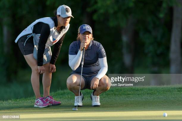 Kate Burnett lines up her putt on during the LPGA Volunteers of America Texas Classic on May 5 2018 at the Old American Golf Club in The Colony TX