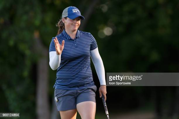 Kate Burnett waves after making her putt on during the LPGA Volunteers of America Texas Classic on May 5 2018 at the Old American Golf Club in The...
