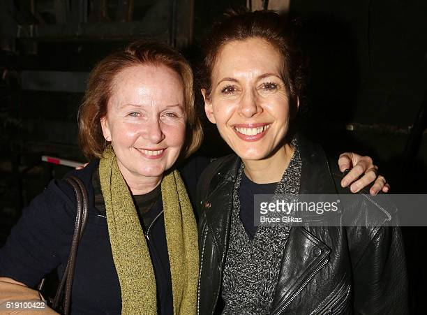 Kate Burton and Jessica Hecht pose backstage at the hit musical Fiddler on The Roof on Broadway at The Broadway Theatre on April 3 2016 in New York...