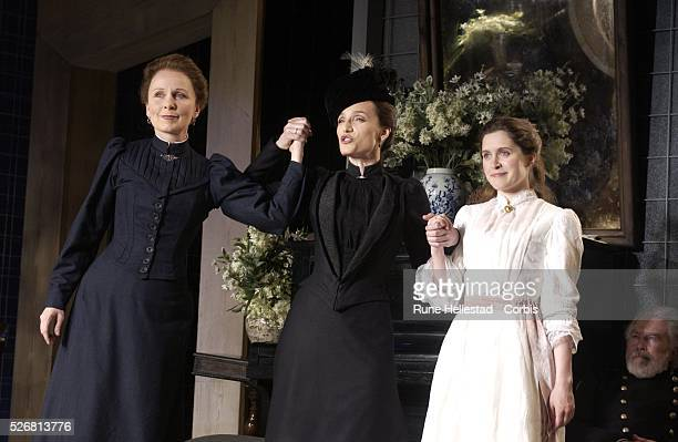 """Kate Burton , Kristin Scott-Thomas , and Madeleine Worrall in the new production of Chekhov's """"Three Sisters"""" at the Playhouse Theatre."""