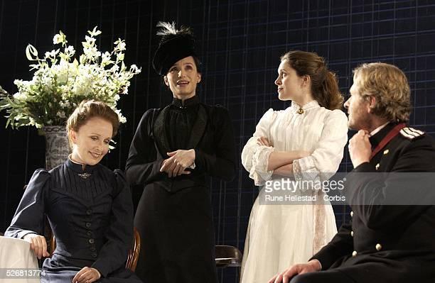 "Kate Burton , Kristin Scott-Thomas , Madeleine Worrall , and Robert Bathurst in the new production of Chekhov's ""Three Sisters"" at the Playhouse..."