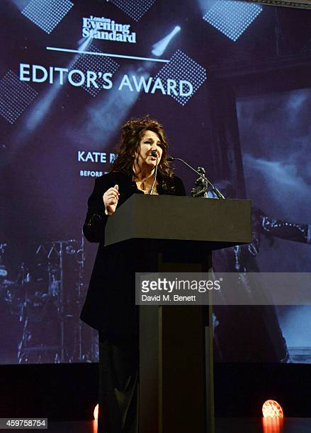 Kate Bush accepts the Editor's Award for 'Before The Dawn' at the 60th London Evening Standard Theatre Awards at the London Palladium on November 30...