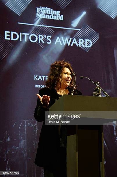 Kate Bush accepts the Editor's Award for 'Before The Dawn' at the 60th London Evening Standard Theatre Awards at the London Palladium on November 30,...