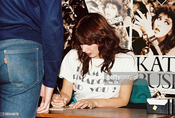 Kate Bush signs her new album 'The Dreaming' for fans at the Virgin Megastore Oxford Street on September 14 1982 in London United Kingdom
