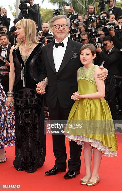"Kate Capshaw, actress Ruby Barnhill and Director Steven Spielberg attend ""The BFG "" premiere during the 69th annual Cannes Film Festival at the..."