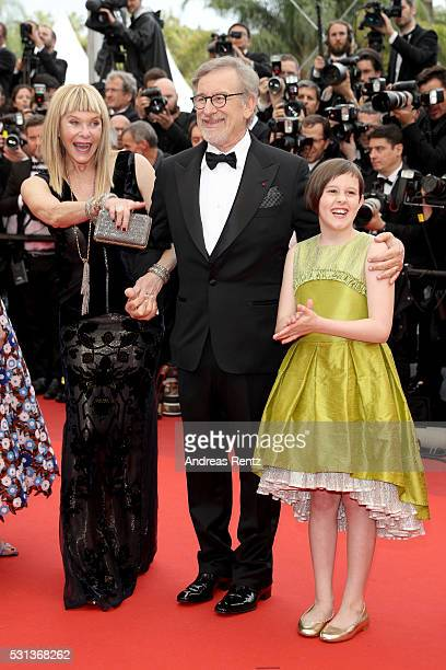 Kate Capshaw actress Ruby Barnhill and Director Steven Spielberg attend The BFG premiere during the 69th annual Cannes Film Festival at the Palais...