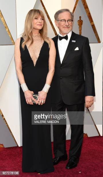 Kate Capshaw and Director Steven Spielberg arrive for the 90th Annual Academy Awards on March 4 in Hollywood California / AFP PHOTO / VALERIE MACON