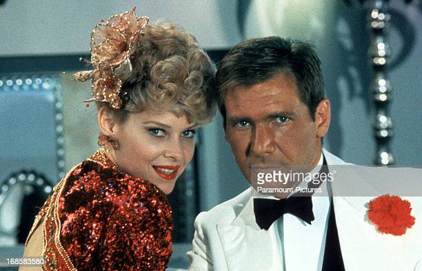Kate Capshaw and Harrison Ford on set of the film 'Indiana Jones And The Temple Of Doom' 1984