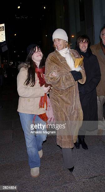 """Kate Capshaw and her daughter appear on set during filming of the movie """"Terminal"""" in the early morning hours of December 20, 2003 in midtown New..."""