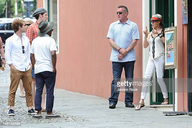 Kate Capshaw and her sons Theo Spielberg and Sawyer Spielberg sighted on July 11 2012 in Portofino Italy