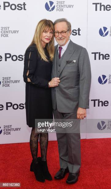 Kate Capshaw and Steven Spielberg arrive at The Post Washington DC Premiere at The Newseum on December 14 2017 in Washington DC