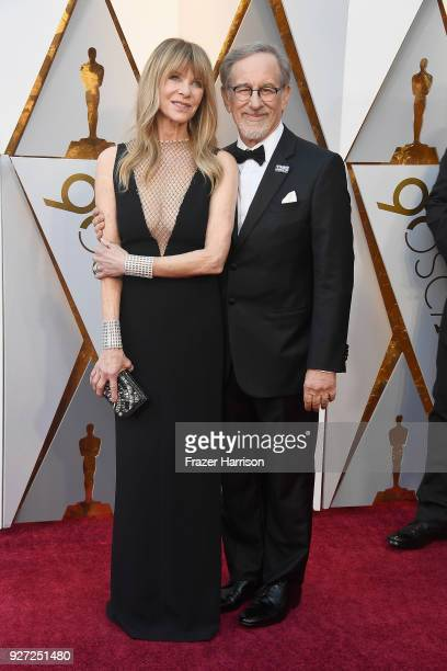 Kate Capshaw and Steven Spielberg attend the 90th Annual Academy Awards at Hollywood Highland Center on March 4 2018 in Hollywood California