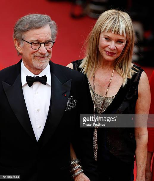Kate Capshaw and Steven Spielberg attend The BFG premiere during the 69th annual Cannes Film Festival at the Palais des Festivals on May 14 2016 in...