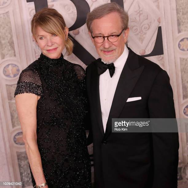 Kate Capshaw and Steven Spielberg attend the Ralph Lauren fashion show during New York Fashion Week at Bethesda Terrace on September 7, 2018 in New...