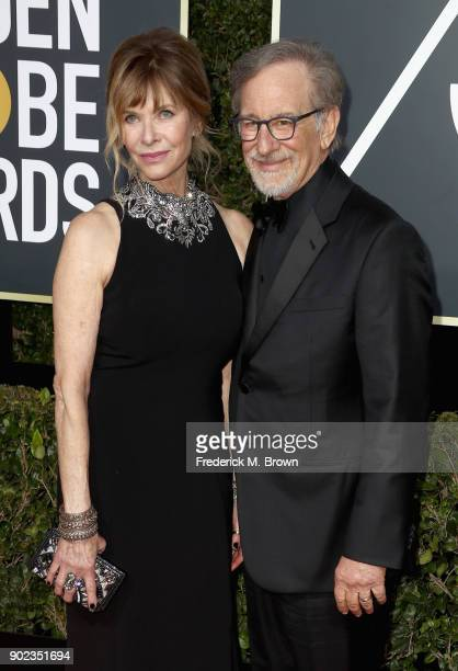 Kate Capshaw and Steven Spielberg attends The 75th Annual Golden Globe Awards at The Beverly Hilton Hotel on January 7 2018 in Beverly Hills...