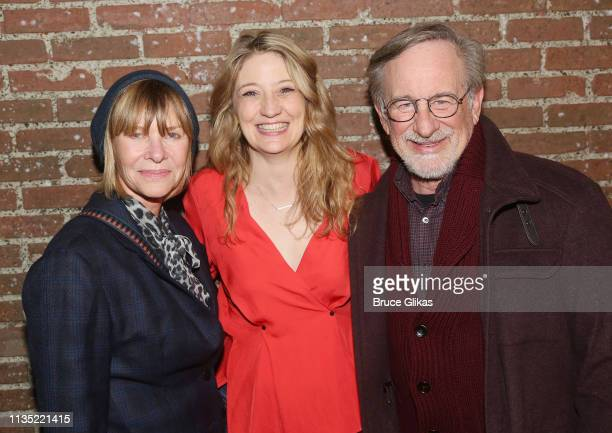 "Kate Capshaw, Playwright/Performer Heidi Schreck and Steven Spielberg pose backstage at the hit play ""What The Constitution Means to Me"" on Broadway..."