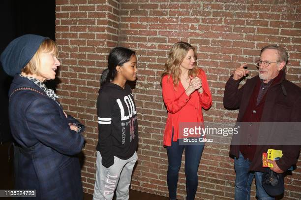 "Kate Capshaw, Rosdely Ciprian, Playwright/Performer Heidi Schreck and Steven Spielberg chat backstage at the hit play ""What The Constitution Means to..."