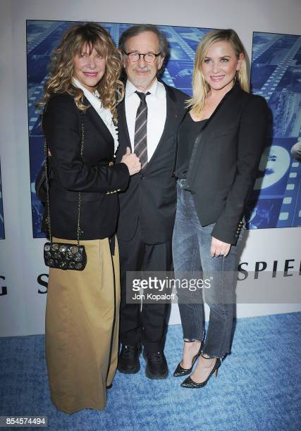Kate Capshaw Steven Spielberg and Jessica Capshaw arrive at the HBO Premiere 'Spielberg' at Paramount Studios on September 26 2017 in Hollywood...