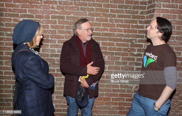 "Kate Capshaw, Steven Spielberg and Mike Iveson chat backstage at the hit play ""What The Constitution Means to Me"" on Broadway at The Helen Hayes..."