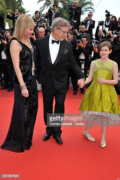 """Kate Capshaw, Steven Spielberg and Ruby Barnhill attend """"The BFG"""" premiere during The 69th annual Cannes Film Festival on May 14, 2016 in Cannes,..."""