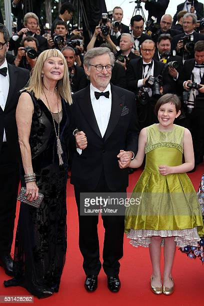 Kate Capshaw, Steven Spielberg and Ruby Barnhill attend 'The BFG ' premiere during the 69th annual Cannes Film Festival at the Palais des Festivals...