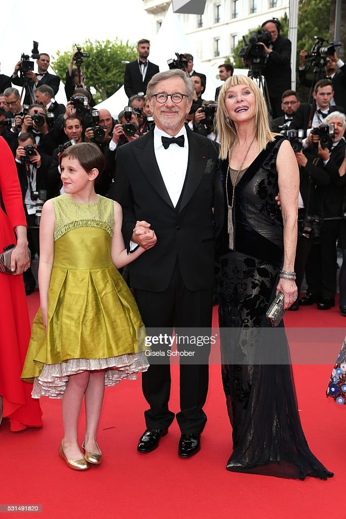 Kate Capshaw, Steven Spielberg and Ruby Barnhill attends 'The BFG (Le Bon Gros Geant - Le BGG)' premiere during the 69th annual Cannes Film Festival at the Palais des Festivals on May 14, 2016 in Cannes, France.
