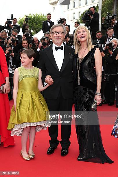 "Kate Capshaw, Steven Spielberg and Ruby Barnhill attends ""The BFG "" premiere during the 69th annual Cannes Film Festival at the Palais des Festivals..."