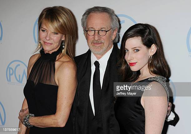 Kate Capshaw Steven Spielberg and Sasha Spielberg attend the 23rd Annual Producers Guild Awards at The Beverly Hilton hotel on January 21 2012 in...