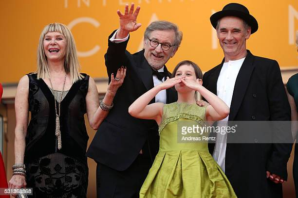 Kate Capshaw Steven Spielberg Ruby Barnhill and Mark Rylance attend The BFG premiere during the 69th annual Cannes Film Festival at the Palais des...