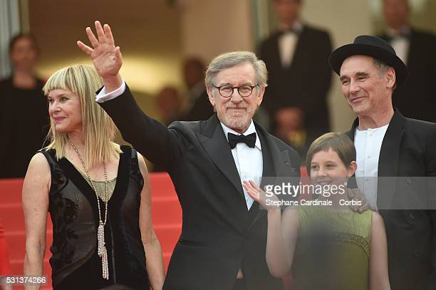 """Kate Capshaw, Steven Spielberg, Ruby Barnhill and Mark Rylance attend """"The BFG """" premiere during the 69th annual Cannes Film Festival at the Palais..."""
