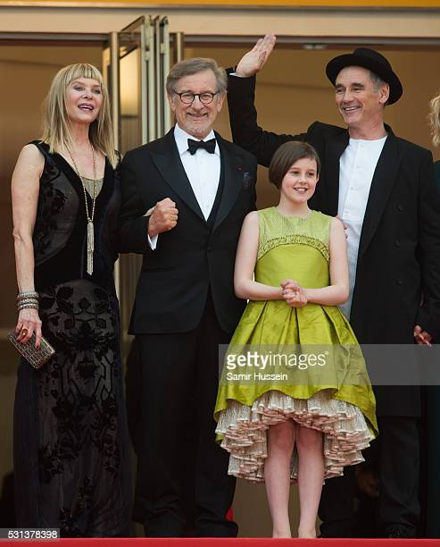 "Kate Capshaw, Steven Spielberg, Ruby Barnhill and Mark Rylance attend the screening of ""The BFG ""- at the annual 69th Cannes Film Festival at Palais..."