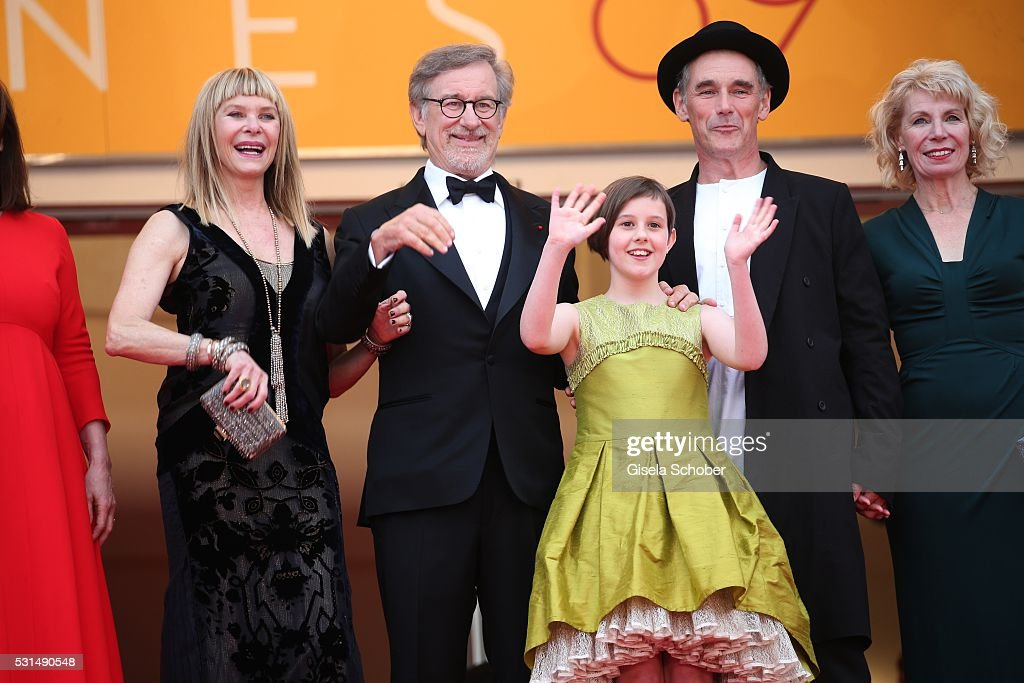 Kate Capshaw, Steven Spielberg, Ruby Barnhill and Mark Rylance attend 'The BFG (Le Bon Gros Geant - Le BGG)' premiere during the 69th annual Cannes Film Festival at the Palais des Festivals on May 14, 2016 in Cannes, France.