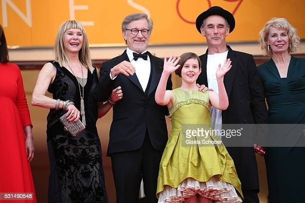 "Kate Capshaw, Steven Spielberg, Ruby Barnhill and Mark Rylance attend ""The BFG "" premiere during the 69th annual Cannes Film Festival at the Palais..."