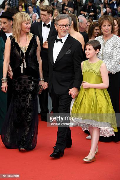 """Kate Capshaw, Steven Spielberg, Ruby Barnhill and Penelope Wilton attend """"The BFG """" premiere during the 69th annual Cannes Film Festival at the..."""