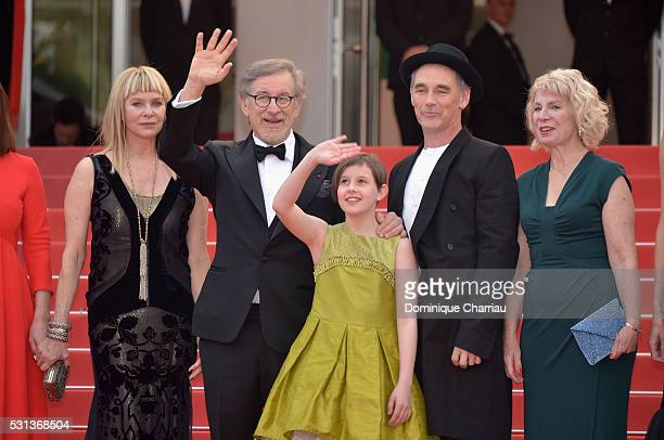 Kate Capshaw Steven Spielberg Ruby Barnhill Mark Rylance and Claire van Kampen attend The BFG premiere during the 69th annual Cannes Film Festival at...