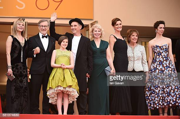 Kate Capshaw Steven Spielberg Ruby Barnhill Mark Rylance Claire van Kampen Lucy Dahl Penelope Wilton and Rebecca Hall attend The BFG premiere during...