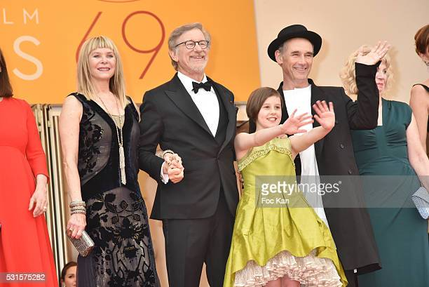 Kate Capshaw, Steven Spielberg, Ruby Barnhill, Mark Rylance, Claire van Kampen and Lucy Dahl attend 'The BFG ' premiere during the 69th annual Cannes...