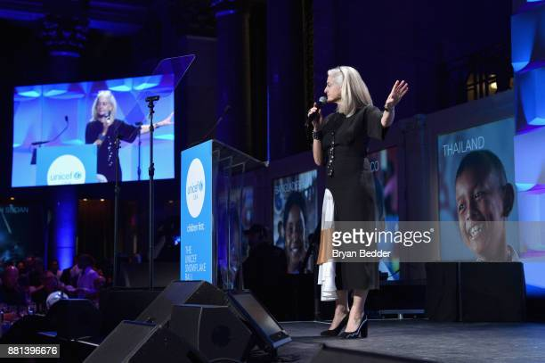 Kate Chertavian auctions off items during the 13th Annual UNICEF Snowflake Ball 2017 at Cipriani Wall Street on November 28 2017 in New York City
