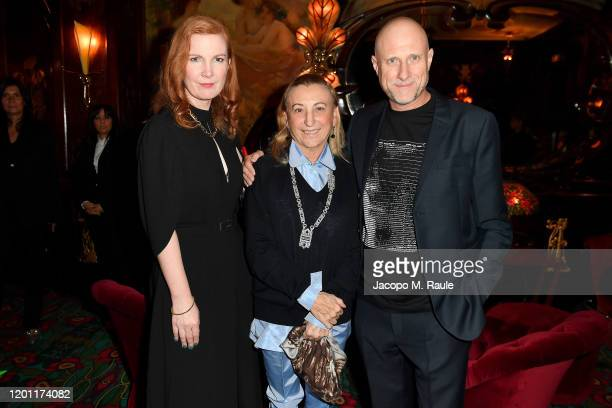 Kate Crawford, Miuccia Prada and Trevor Paglen attend the dinner co-hosted by Prada and Vogue Paris on January 19, 2020 in Paris, France.