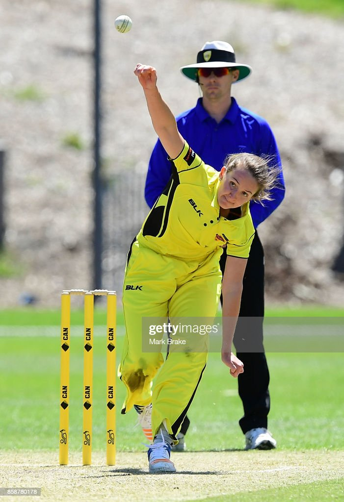 Kate Cross bowling during the WNCL match between Tasmania and Western Australia at Adelaide Oval No.2 on October 7, 2017 in Adelaide, Australia.