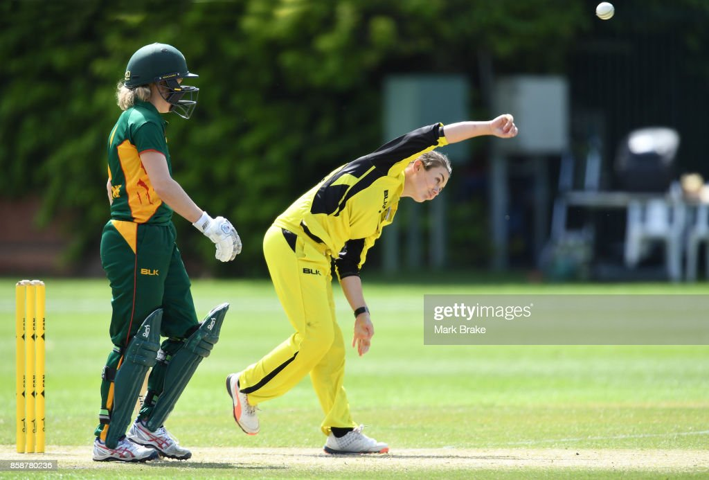 Kate Cross bowls during the WNCL match between Tasmania and Western Australia at Adelaide Oval No.2 on October 7, 2017 in Adelaide, Australia.