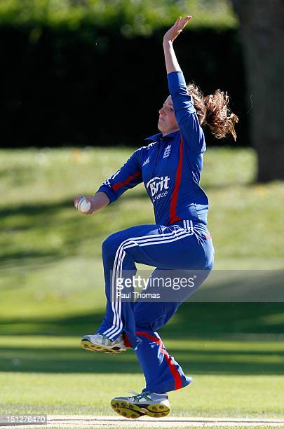 Kate Cross of England Academy bowls during the friendly T20 cricket match between England and England Academy at Loughborough University on September...